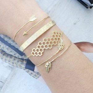 Gold Honeycomb Bangle Bracelet Set